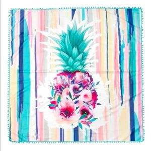 🆕 Pineapple Floral Watercolor Square Beach Towel